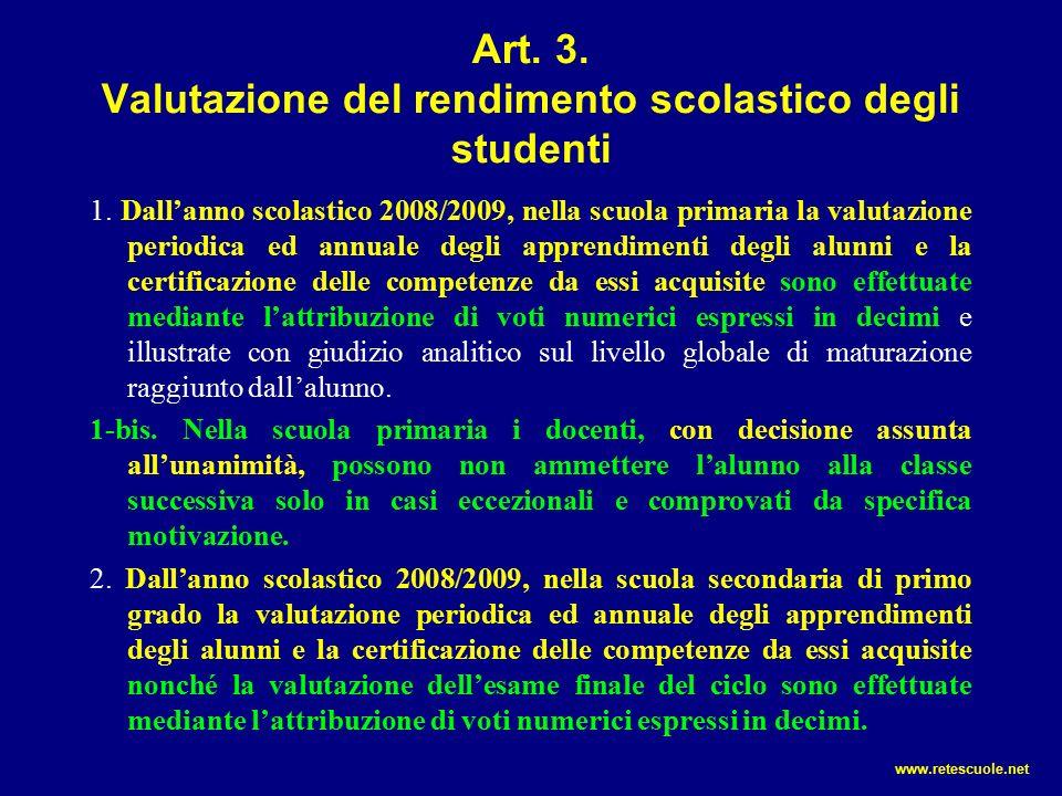 Art. 3. Valutazione del rendimento scolastico degli studenti 1.