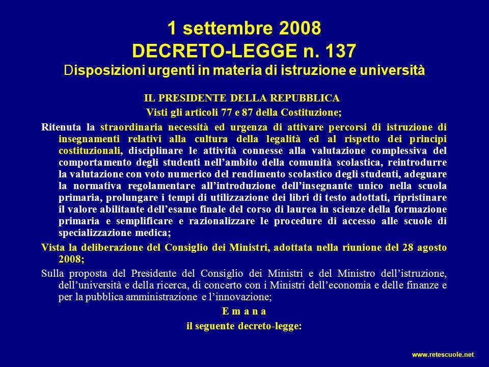 L'ultima novità DECRETO-LEGGE 7 ottobre 2008, n.