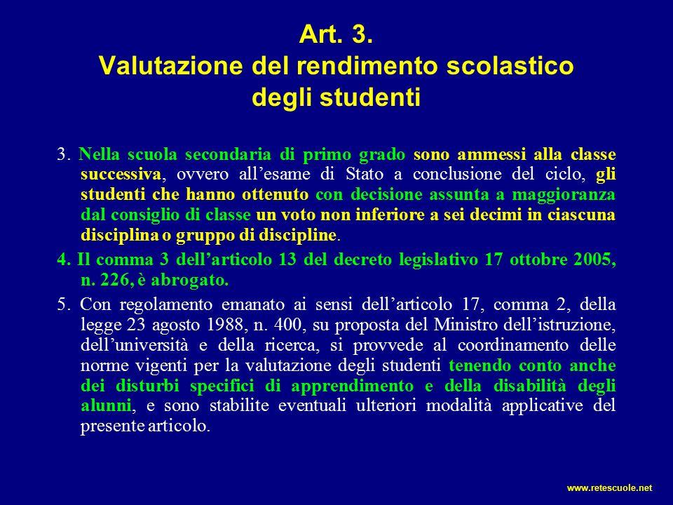 Art. 3. Valutazione del rendimento scolastico degli studenti 3.