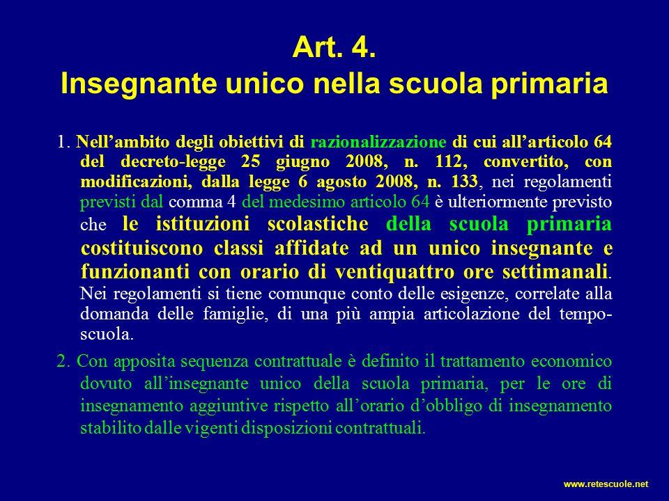 Art. 4. Insegnante unico nella scuola primaria 1.