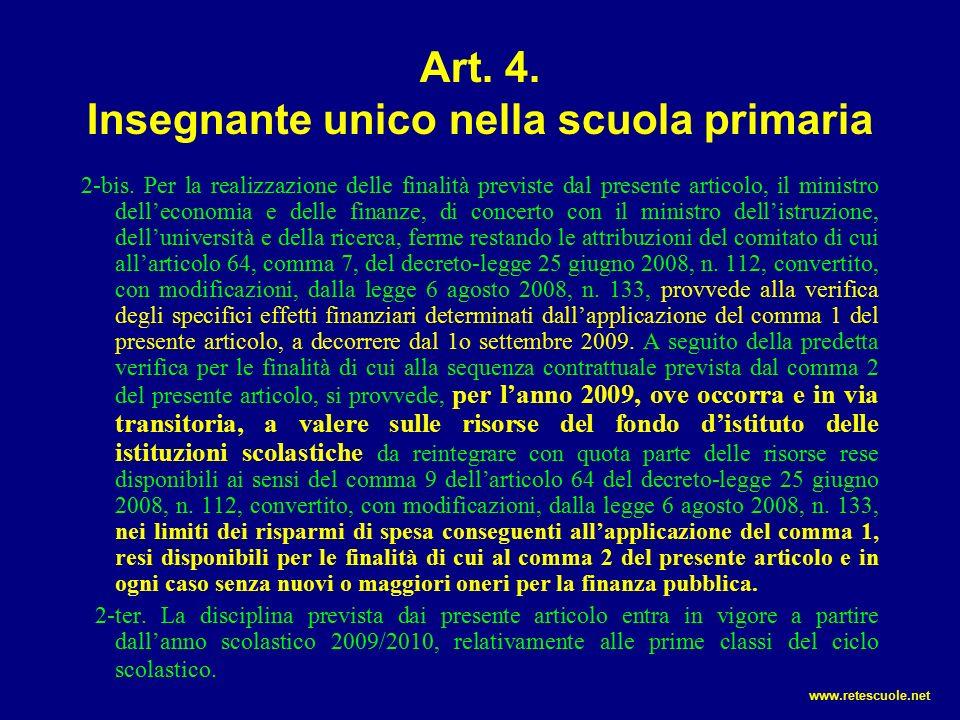 Art.4. Insegnante unico nella scuola primaria 2-bis.