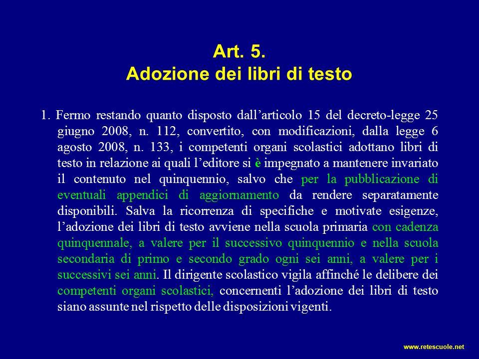 Art.5. Adozione dei libri di testo 1.