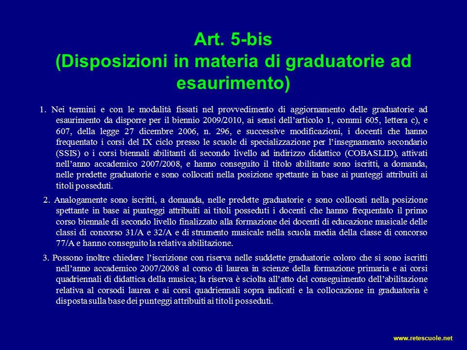 Art. 5-bis (Disposizioni in materia di graduatorie ad esaurimento) 1.