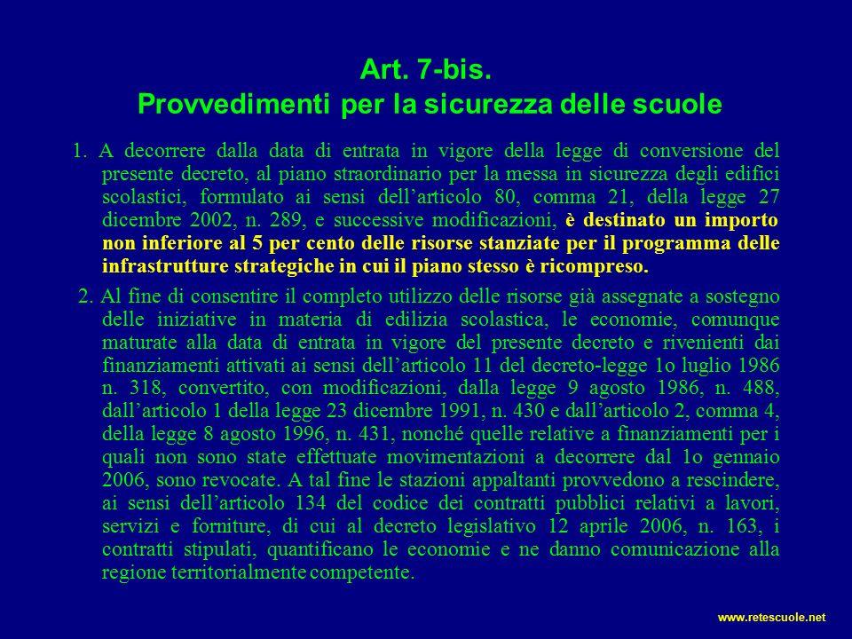Art.7-bis. Provvedimenti per la sicurezza delle scuole 1.