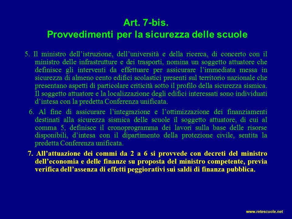 Art.7-bis. Provvedimenti per la sicurezza delle scuole 5.