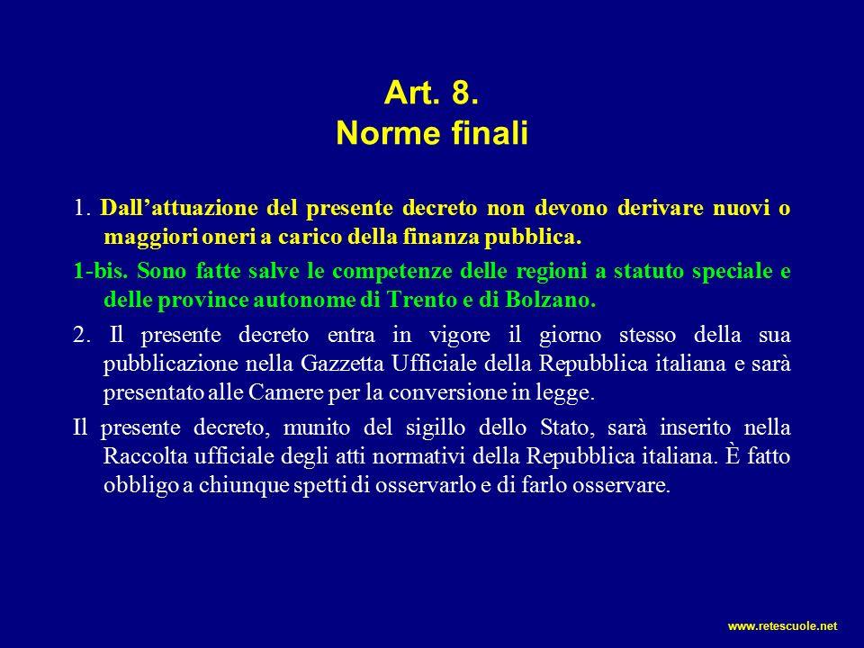 Art. 8. Norme finali 1.