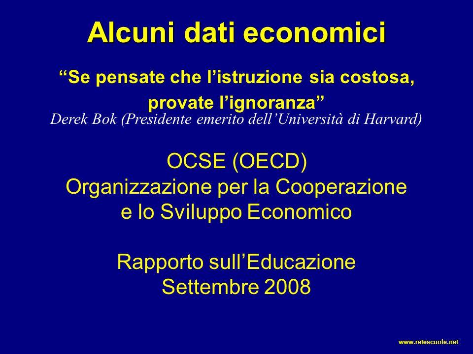 Alcuni dati economici Se pensate che l'istruzione sia costosa, provate l'ignoranza Derek Bok (Presidente emerito dell'Università di Harvard) OCSE (OECD) Organizzazione per la Cooperazione e lo Sviluppo Economico Rapporto sull'Educazione Settembre 2008 www.retescuole.net