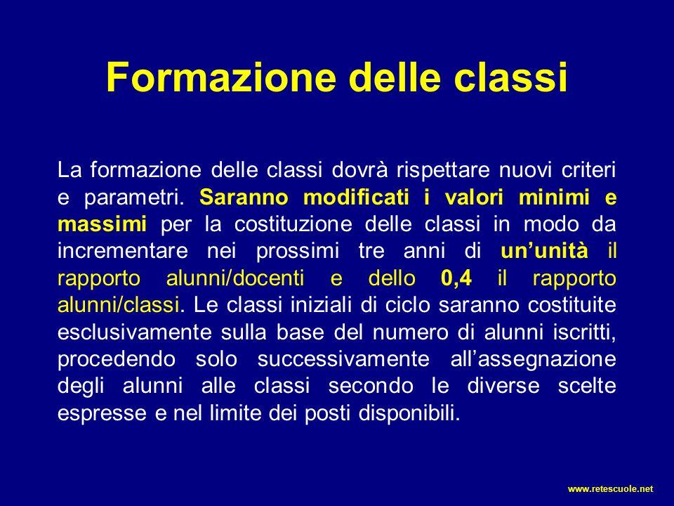 Formazione delle classi La formazione delle classi dovrà rispettare nuovi criteri e parametri.
