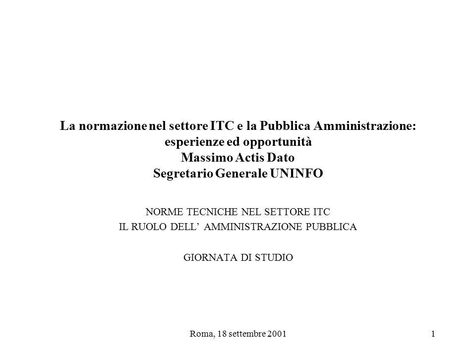 Roma, 18 settembre 20012 Esperienze ed opportunità Le norme cosa sono Gli attori La PA Alcuni casi Conclusioni