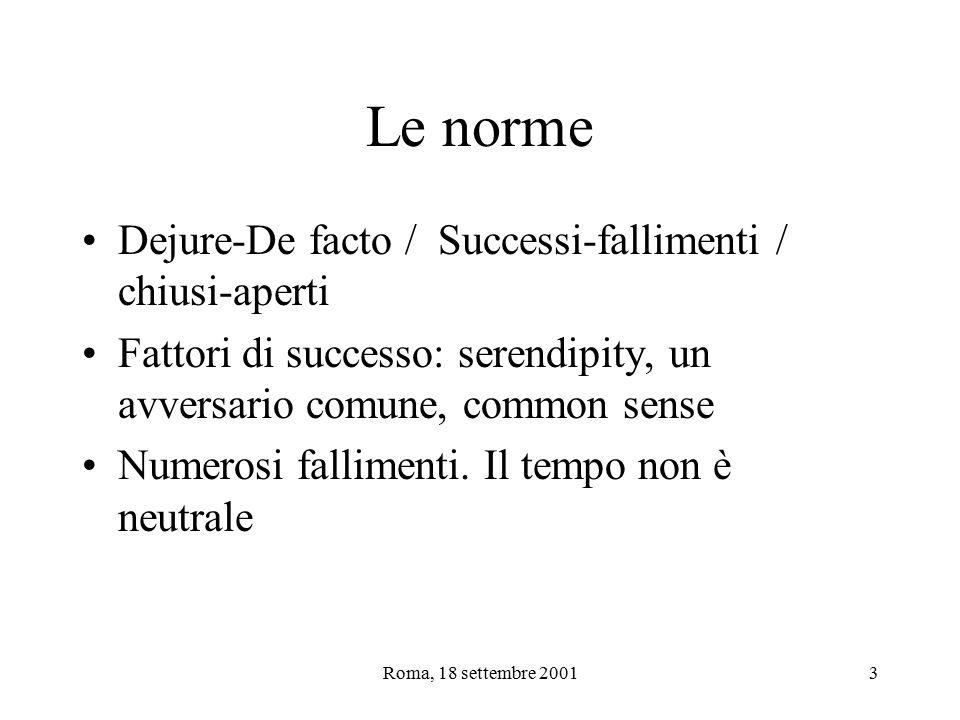 Roma, 18 settembre 20013 Le norme Dejure-De facto / Successi-fallimenti / chiusi-aperti Fattori di successo: serendipity, un avversario comune, common sense Numerosi fallimenti.