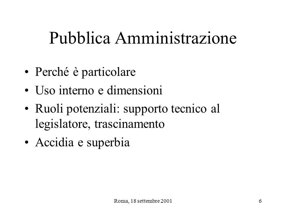Roma, 18 settembre 20016 Pubblica Amministrazione Perché è particolare Uso interno e dimensioni Ruoli potenziali: supporto tecnico al legislatore, trascinamento Accidia e superbia