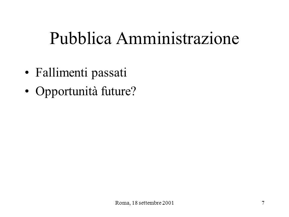 Roma, 18 settembre 20017 Pubblica Amministrazione Fallimenti passati Opportunità future