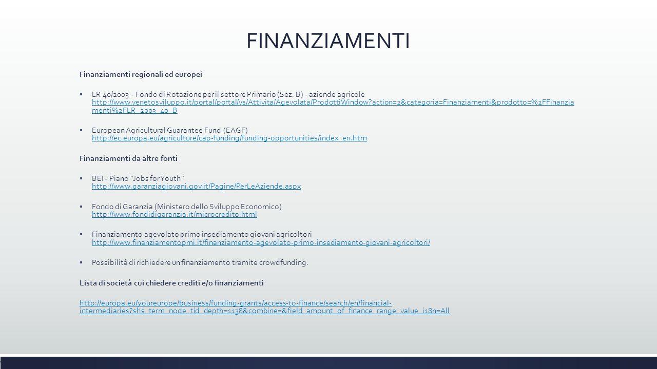 FINANZIAMENTI Finanziamenti regionali ed europei  LR 40/2003 - Fondo di Rotazione per il settore Primario (Sez. B) - aziende agricole http://www.vene