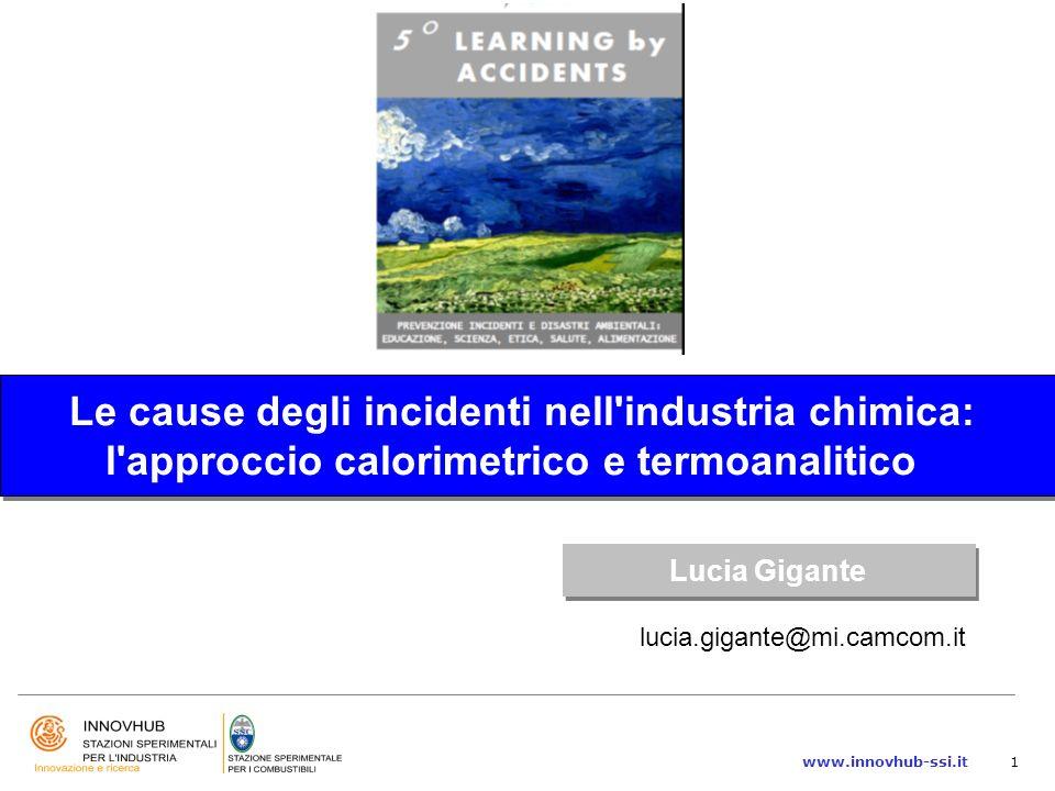 www.innovhub-ssi.it1 Le cause degli incidenti nell'industria chimica: l'approccio calorimetrico e termoanalitico Le cause degli incidenti nell'industr