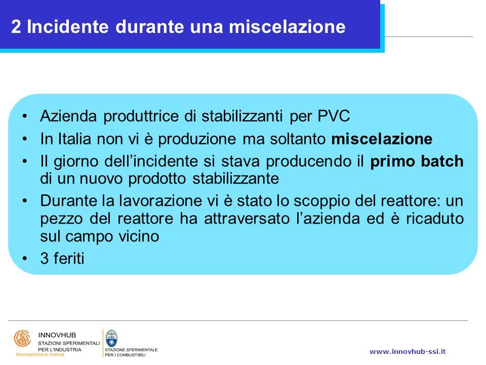 www.innovhub-ssi.it Azienda produttrice di stabilizzanti per PVC In Italia non vi è produzione ma soltanto miscelazione Il giorno dell'incidente si st