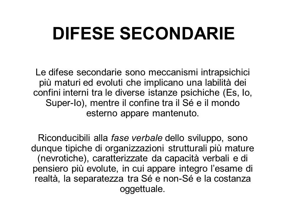 DIFESE SECONDARIE Le difese secondarie sono meccanismi intrapsichici più maturi ed evoluti che implicano una labilità dei confini interni tra le diver