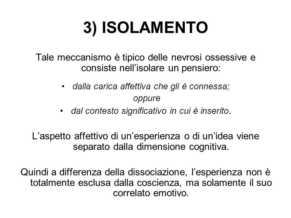 3) ISOLAMENTO Tale meccanismo è tipico delle nevrosi ossessive e consiste nell'isolare un pensiero: dalla carica affettiva che gli è connessa; oppure