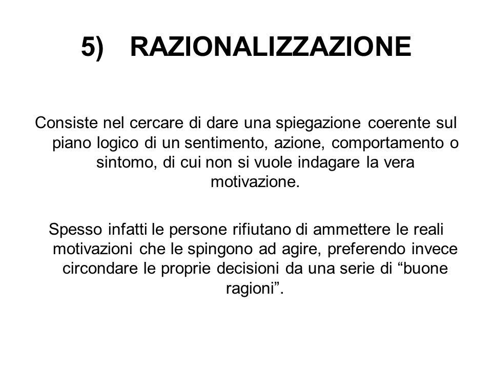 5) RAZIONALIZZAZIONE Consiste nel cercare di dare una spiegazione coerente sul piano logico di un sentimento, azione, comportamento o sintomo, di cui