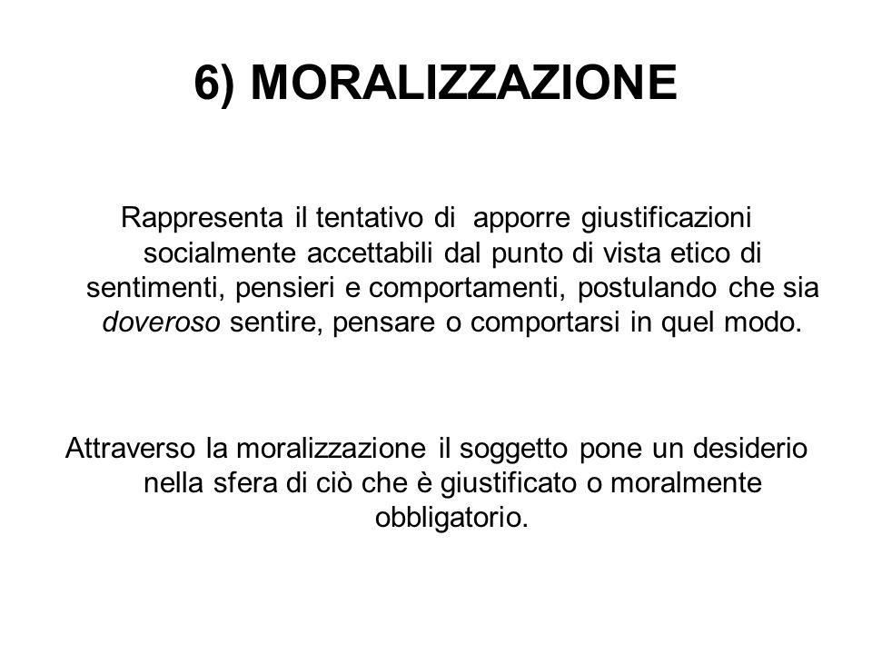 6) MORALIZZAZIONE Rappresenta il tentativo di apporre giustificazioni socialmente accettabili dal punto di vista etico di sentimenti, pensieri e compo