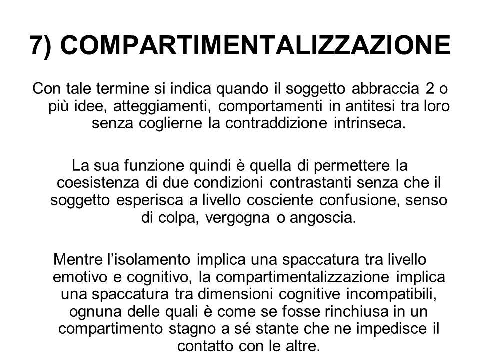 7) COMPARTIMENTALIZZAZIONE Con tale termine si indica quando il soggetto abbraccia 2 o più idee, atteggiamenti, comportamenti in antitesi tra loro sen