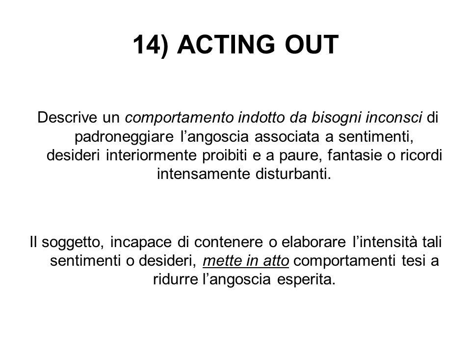 14) ACTING OUT Descrive un comportamento indotto da bisogni inconsci di padroneggiare l'angoscia associata a sentimenti, desideri interiormente proibi