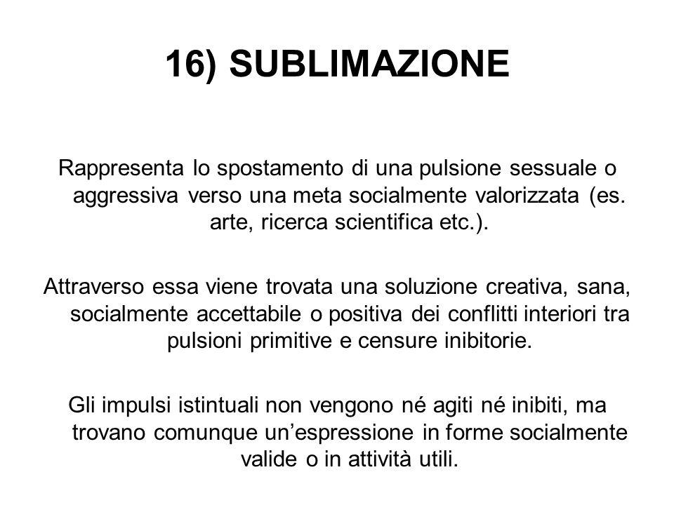 16) SUBLIMAZIONE Rappresenta lo spostamento di una pulsione sessuale o aggressiva verso una meta socialmente valorizzata (es. arte, ricerca scientific