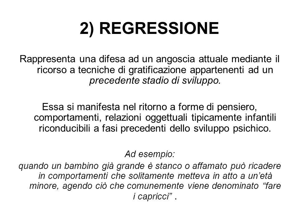 2) REGRESSIONE Rappresenta una difesa ad un angoscia attuale mediante il ricorso a tecniche di gratificazione appartenenti ad un precedente stadio di