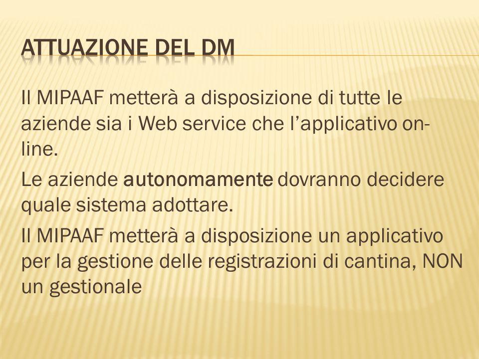 Il MIPAAF metterà a disposizione di tutte le aziende sia i Web service che l'applicativo on- line. Le aziende autonomamente dovranno decidere quale si