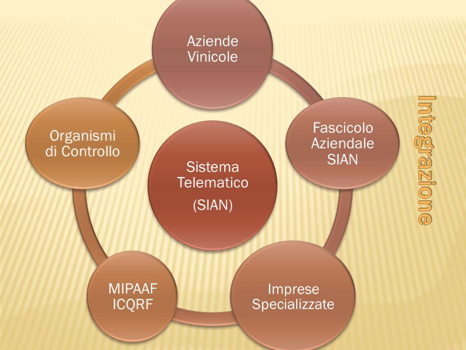 Sistema Telematico (SIAN) Aziende Vinicole Fascicolo Aziendale SIAN Imprese Specializzate MIPAAF ICQRF Organismi di Controllo
