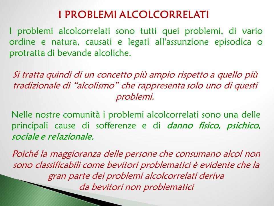 Nelle nostre comunità i problemi alcolcorrelati sono una delle principali cause di sofferenze e di danno fisico, psichico, sociale e relazionale.
