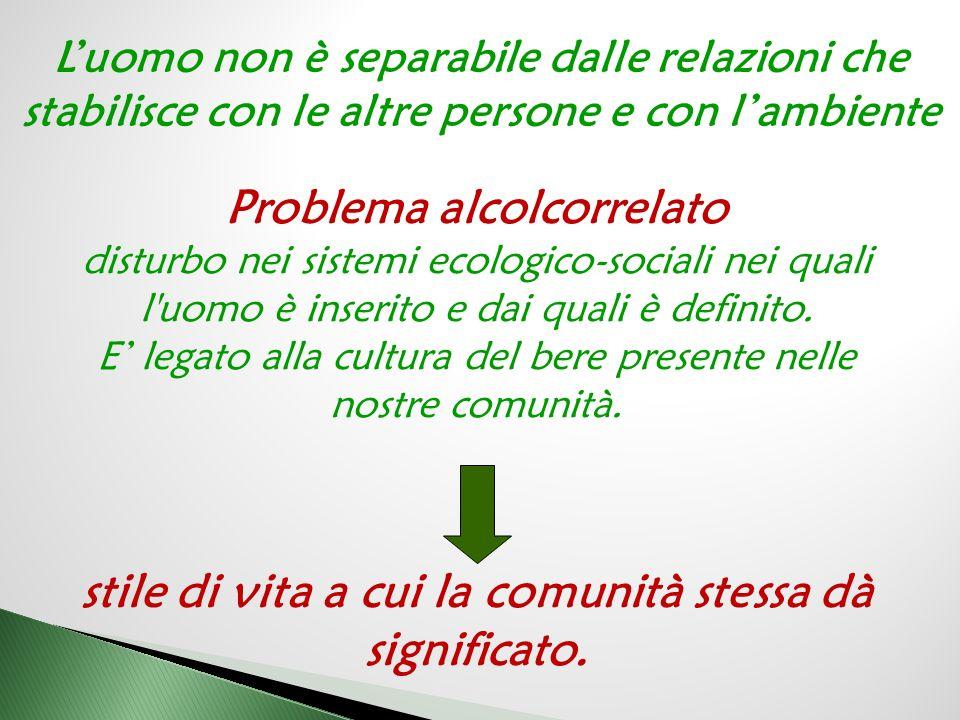 Problema alcolcorrelato disturbo nei sistemi ecologico-sociali nei quali l uomo è inserito e dai quali è definito.