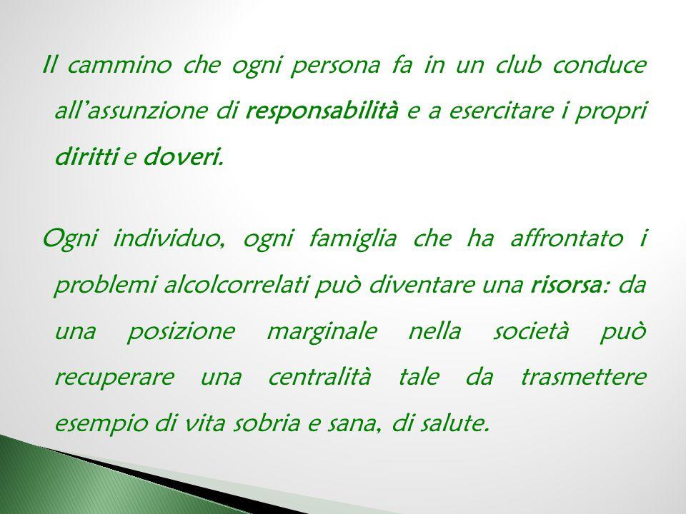 Il cammino che ogni persona fa in un club conduce all'assunzione di responsabilità e a esercitare i propri diritti e doveri.