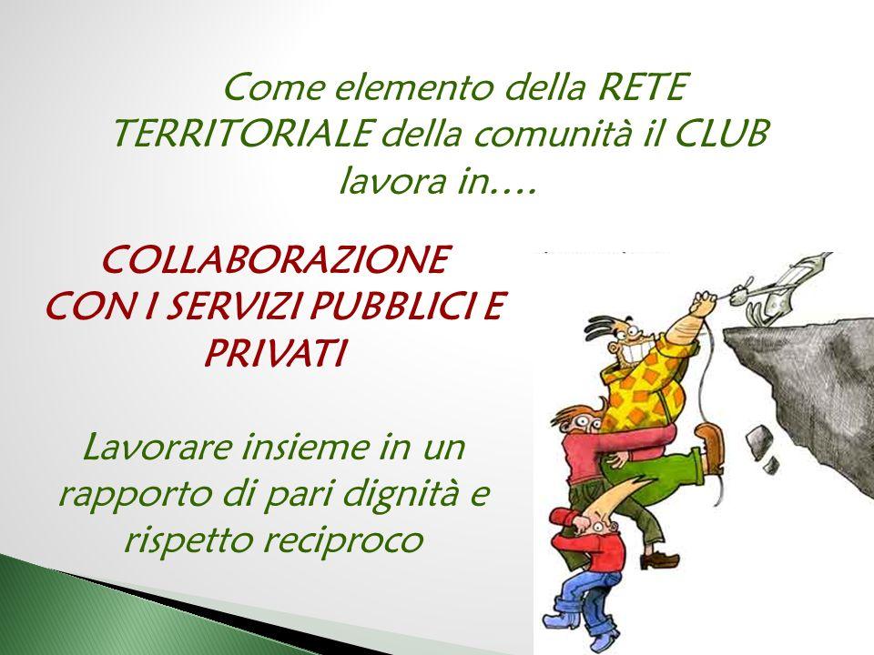Come elemento della RETE TERRITORIALE della comunità il CLUB lavora in….