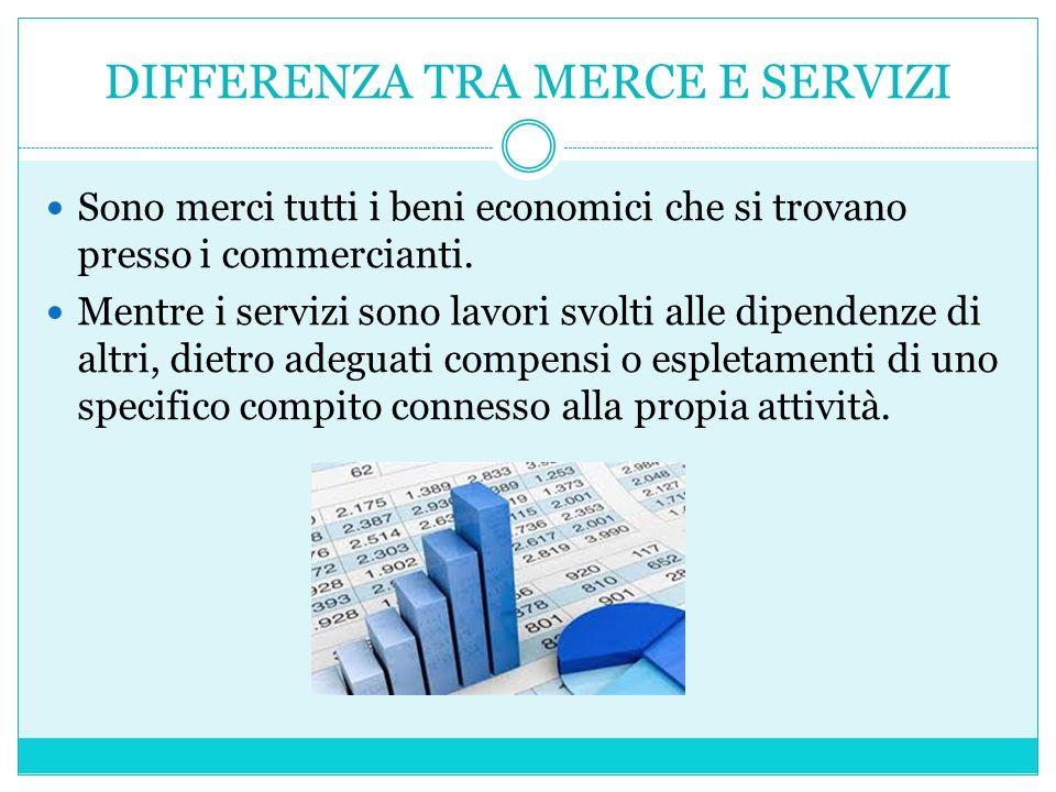 DIFFERENZA TRA MERCE E SERVIZI Sono merci tutti i beni economici che si trovano presso i commercianti.