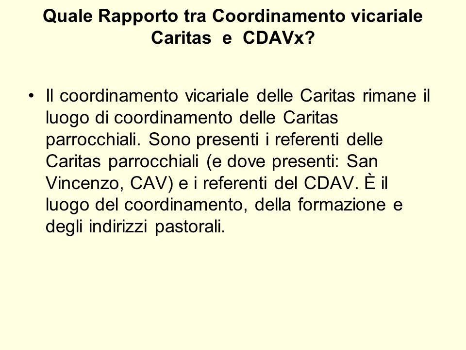 Quale Rapporto tra Coordinamento vicariale Caritas e CDAVx? Il coordinamento vicariale delle Caritas rimane il luogo di coordinamento delle Caritas pa