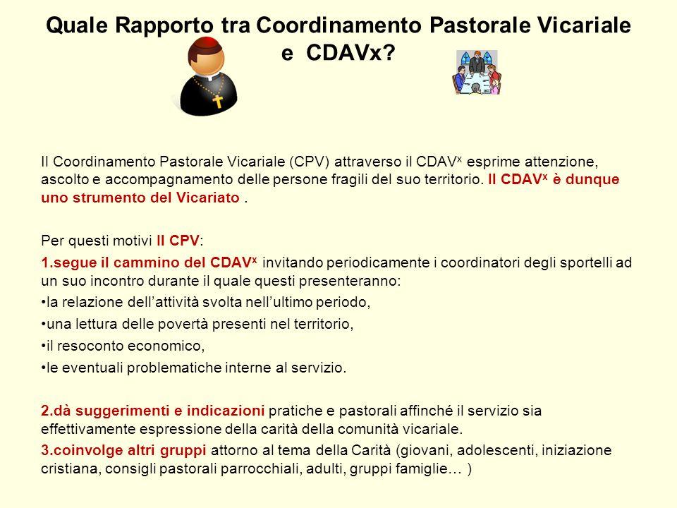 Quale Rapporto tra Coordinamento Pastorale Vicariale e CDAVx? Il Coordinamento Pastorale Vicariale (CPV) attraverso il CDAV x esprime attenzione, asco