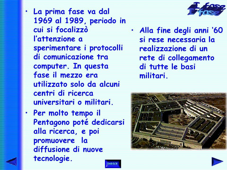 La prima fase va dal 1969 al 1989, periodo in cui si focalizzò l'attenzione a sperimentare i protocolli di comunicazione tra computer.