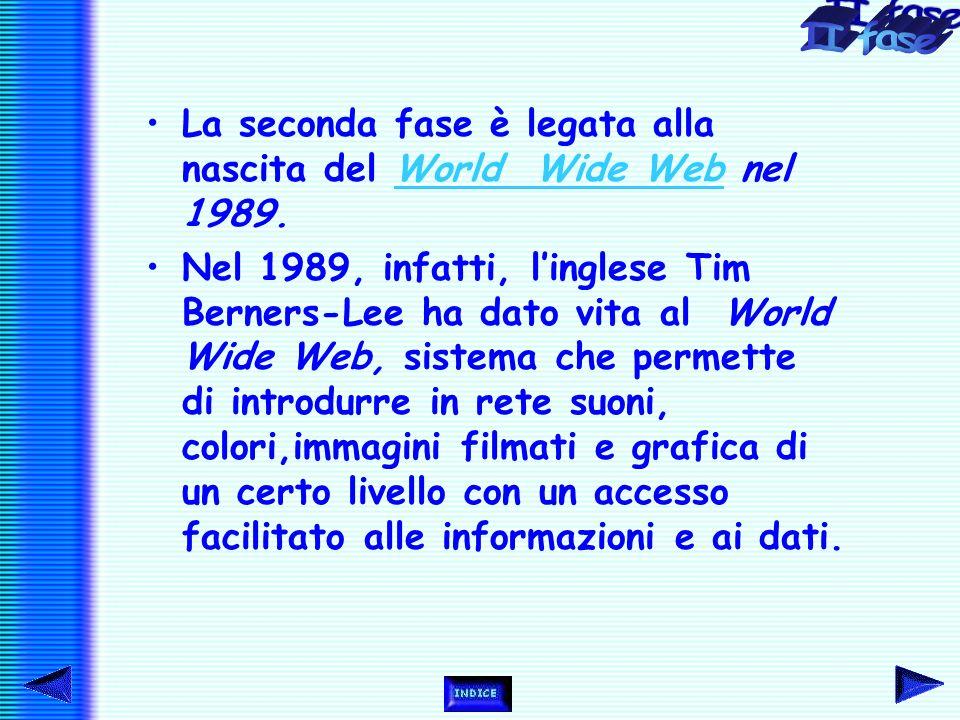La seconda fase è legata alla nascita del World Wide Web nel 1989.World Wide Web Nel 1989, infatti, l'inglese Tim Berners-Lee ha dato vita al World Wide Web, sistema che permette di introdurre in rete suoni, colori,immagini filmati e grafica di un certo livello con un accesso facilitato alle informazioni e ai dati.