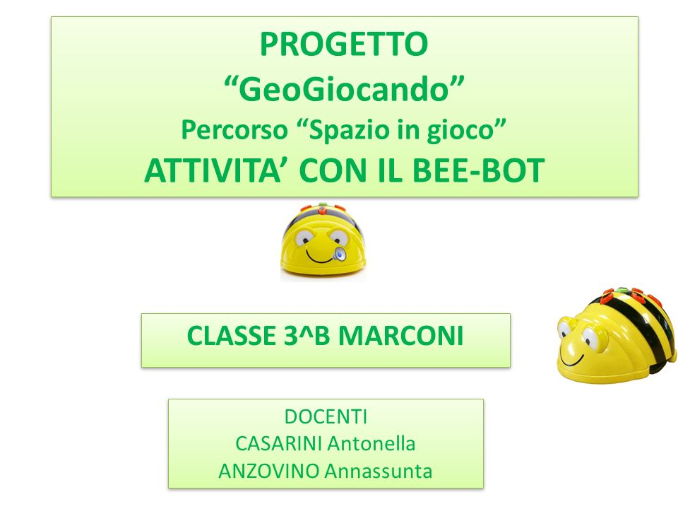 """CLASSE 3^B MARCONI DOCENTI CASARINI Antonella ANZOVINO Annassunta DOCENTI CASARINI Antonella ANZOVINO Annassunta PROGETTO """"GeoGiocando"""" Percorso """"Spaz"""
