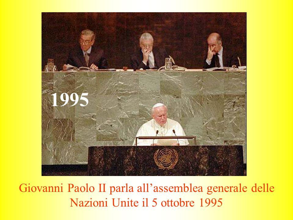 Giovanni Paolo II parla all'assemblea generale delle Nazioni Unite il 5 ottobre 1995 1995