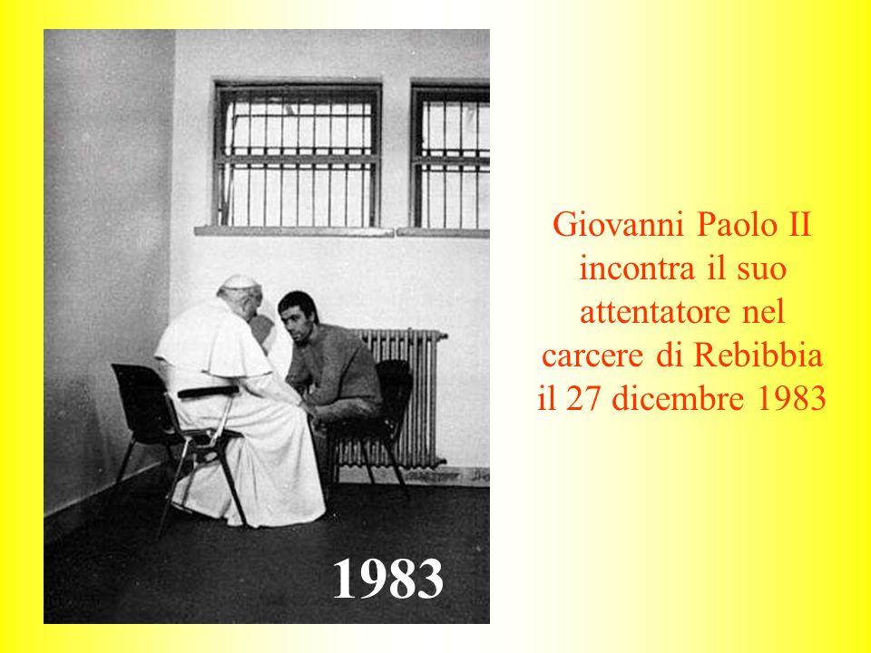 Giovanni Paolo II incontra il suo attentatore nel carcere di Rebibbia il 27 dicembre 1983 1983