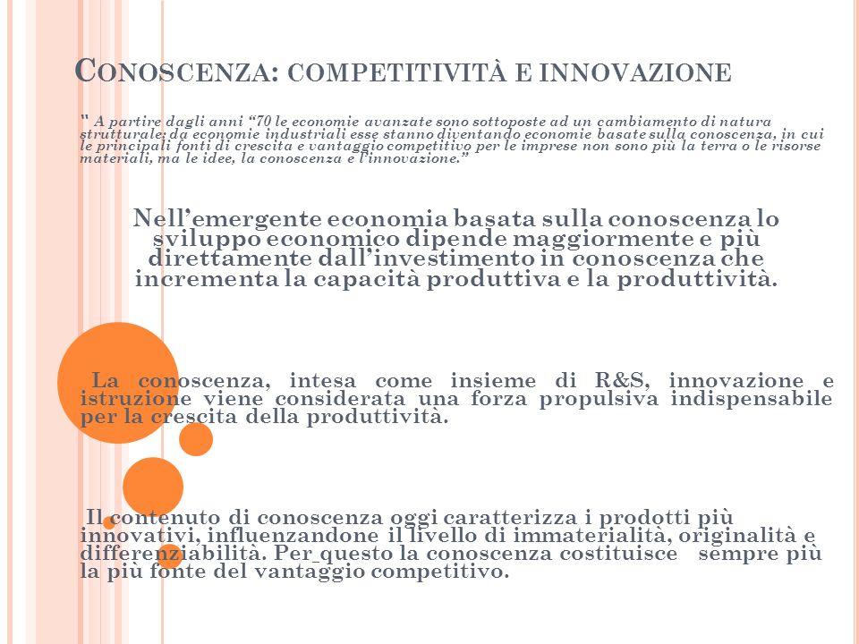 C ONOSCENZA : COMPETITIVITÀ E INNOVAZIONE A partire dagli anni 70 le economie avanzate sono sottoposte ad un cambiamento di natura strutturale: da economie industriali esse stanno diventando economie basate sulla conoscenza, in cui le principali fonti di crescita e vantaggio competitivo per le imprese non sono più la terra o le risorse materiali, ma le idee, la conoscenza e l'innovazione. Nell'emergente economia basata sulla conoscenza lo sviluppo economico dipende maggiormente e più direttamente dall'investimento in conoscenza che incrementa la capacità produttiva e la produttività.