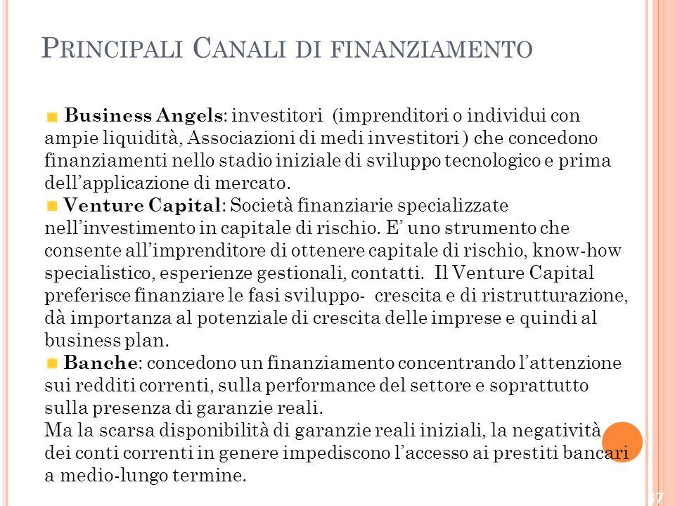 P RINCIPALI C ANALI DI FINANZIAMENTO Business Angels : investitori (imprenditori o individui con ampie liquidità, Associazioni di medi investitori ) che concedono finanziamenti nello stadio iniziale di sviluppo tecnologico e prima dell'applicazione di mercato.