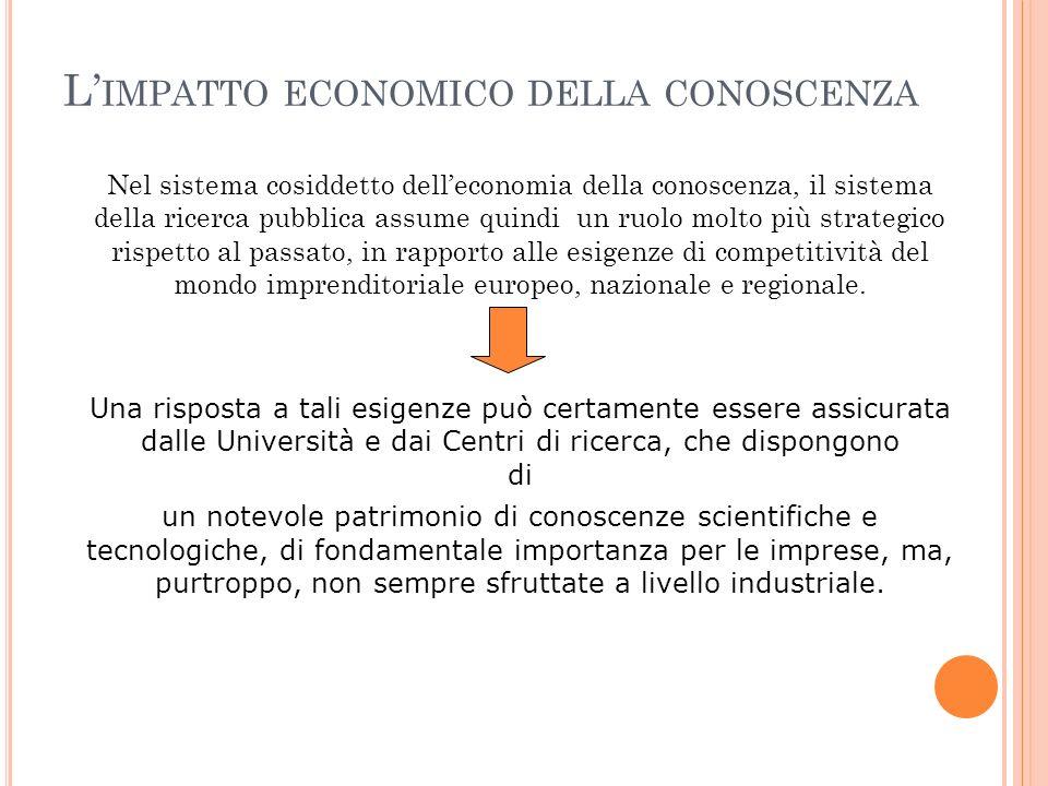 L' IMPATTO ECONOMICO DELLA CONOSCENZA Nel sistema cosiddetto dell'economia della conoscenza, il sistema della ricerca pubblica assume quindi un ruolo molto più strategico rispetto al passato, in rapporto alle esigenze di competitività del mondo imprenditoriale europeo, nazionale e regionale.