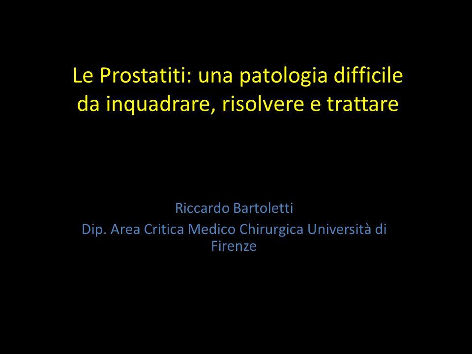 Prostatiti oggi Patologia più frequente negli uomini>50 anni 8% di tutte le consultazioni urologiche Prevalenza della popolazione 4-11% 50% dei soggetti maschi hanno almeno un sintomo da riferire a prostatite nel corso della loro vita