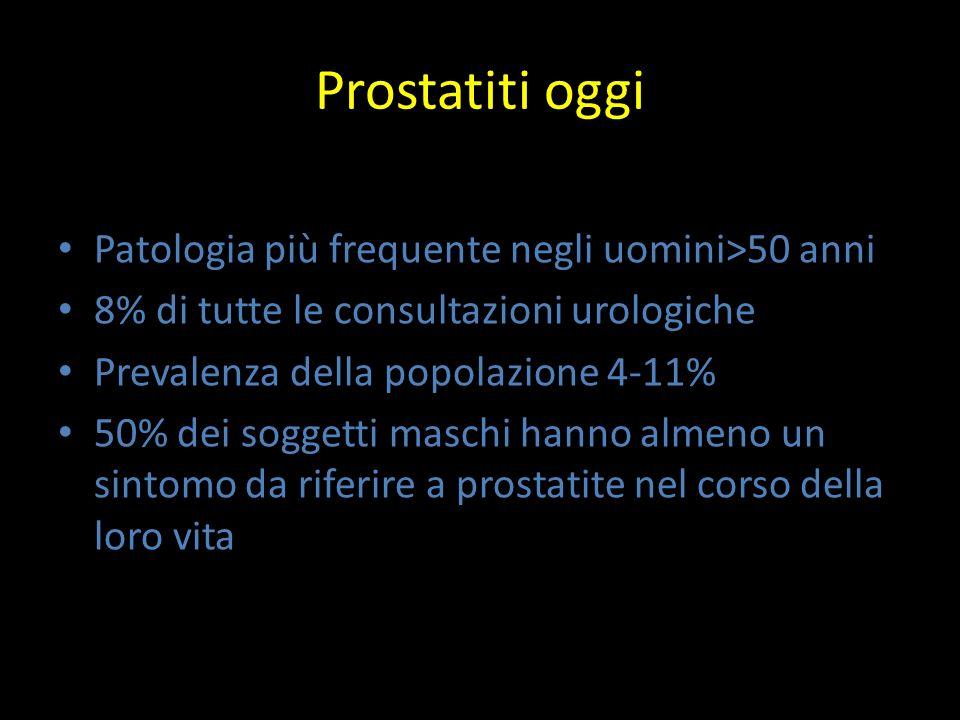Che cosa è la prostatite Insieme di sintomi soggettivi (urinari, sessuali,discomfort locale/dolore) Obbiettività negativa per IPB e PCa Prostata molle e dolente alla DRE