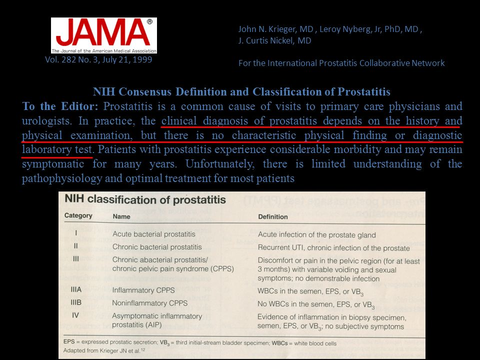 Vol. 282 No. 3, July 21, 1999 NIH Consensus Definition and Classification of Prostatitis To the Editor: Prostatitis is a common cause of visits to pri