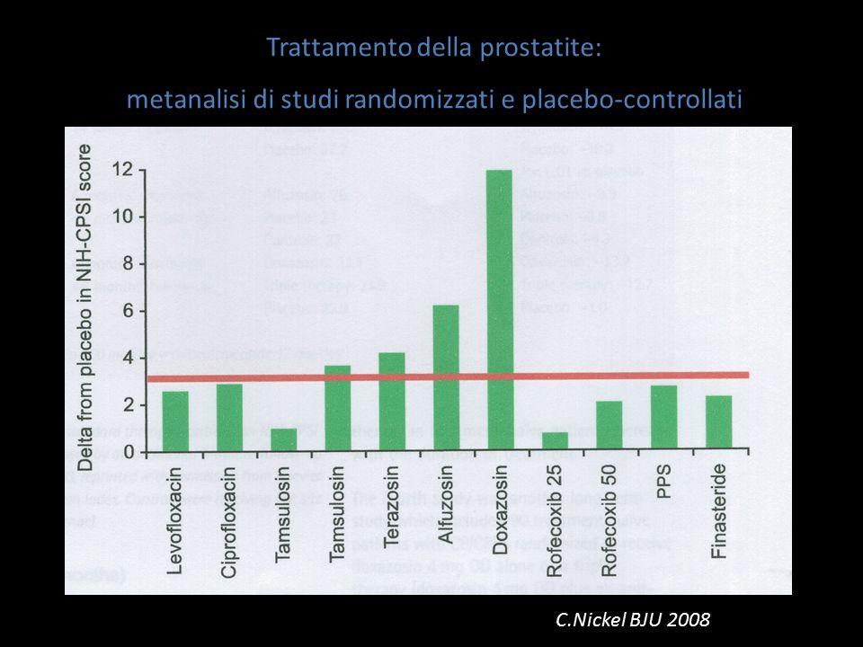 Trattamento della prostatite: metanalisi di studi randomizzati e placebo-controllati C.Nickel BJU 2008
