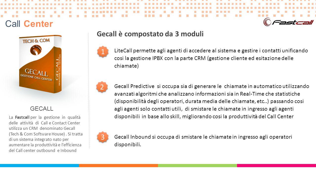 GECALL La Fastcall per la gestione in qualità delle attività di Call e Contact Center utilizza un CRM denominato Gecall (Tech & Com Software House). S