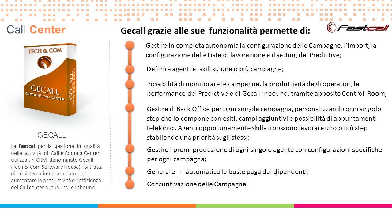 GECALL La Fastcall per la gestione in qualità delle attività di Call e Contact Center utilizza un CRM denominato Gecall (Tech & Com Software House).